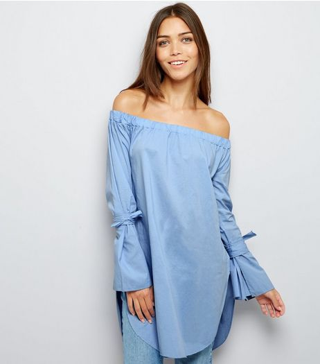 Cameo Rose Blue Bardot Tie Sleeve Top | New Look