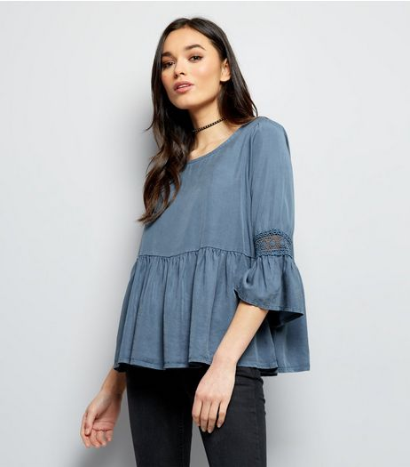 Cameo Rose Blue Lace Trim Frill Hem Top | New Look