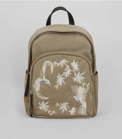 Khaki Bird Embroidered Backpack | New Look