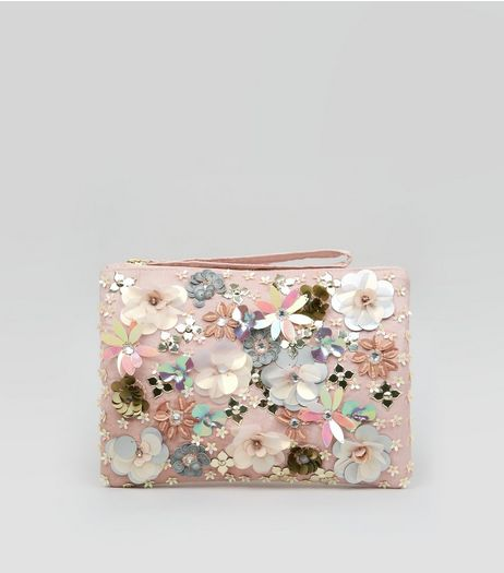 Pink 3D Flower Embellished Purse | New Look