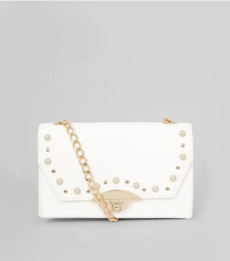 White Pearl Stud Shoulder Bag | New Look