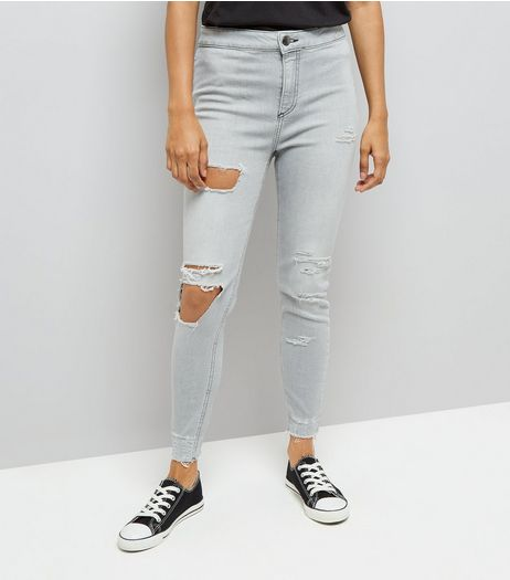 Petite Grey Ripped High Waist Skinny Jeans | New Look