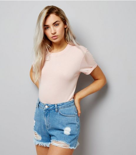 Petite Blue High Waist Ripped Denim Shorts | New Look