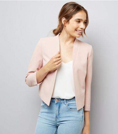 Petite Shell Pink Cropped Jacket | New Look