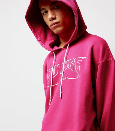 Bright Pink Future Slogan Longline Hoodie | New Look