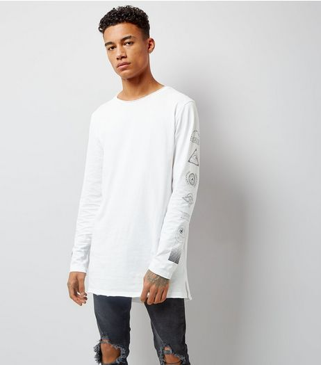 White Eye Print Sleeve Longline T-Shirt | New Look