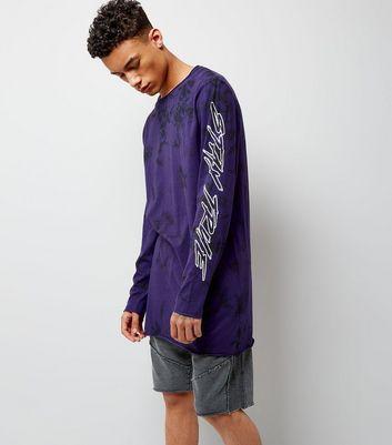 Dark Purple Tie Dye Stay True Print Longline T-Shirt