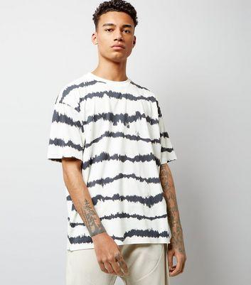 White Tie Dye Stripe Print T-Shirt