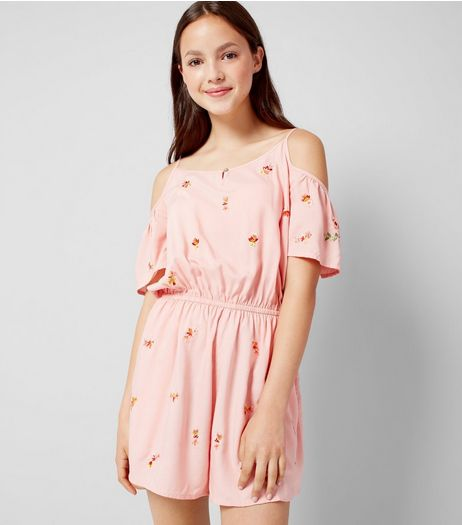 Teens Pink Floral Embroidered Playsuit  | New Look