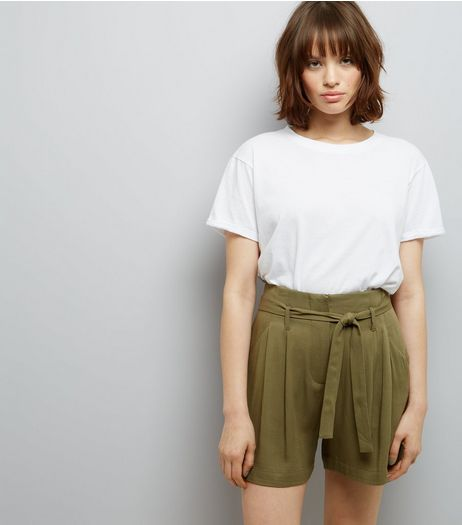 Khaki Tie Waist Shorts | New Look