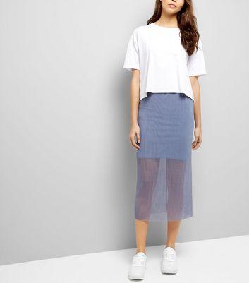 Grey Sheer Pleated Half Lined Midi Skirt