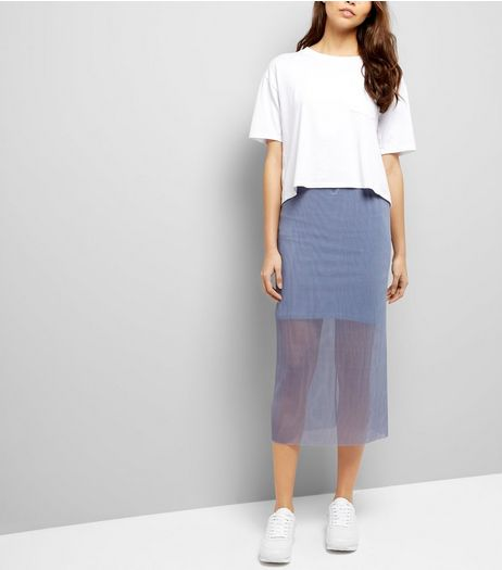 Grey Sheer Pleated Half Lined Midi Skirt  | New Look