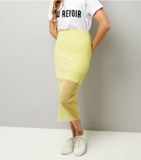 Yellow Sheer Panel Midi Skirt  | New Look