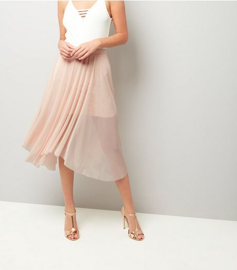 Shell Pink Mesh Hanky Hem Midi Skirt  | New Look