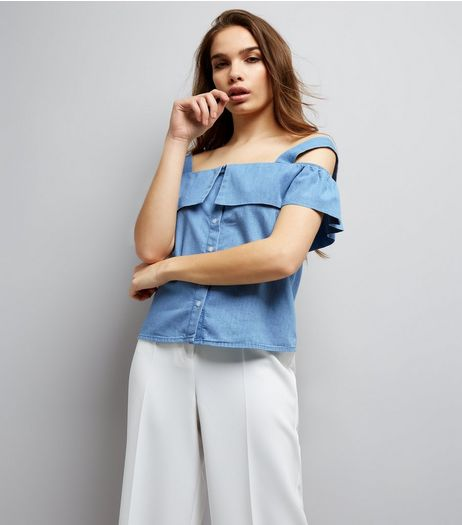 Blue Fold Over Cold Shoulder Denim Top | New Look