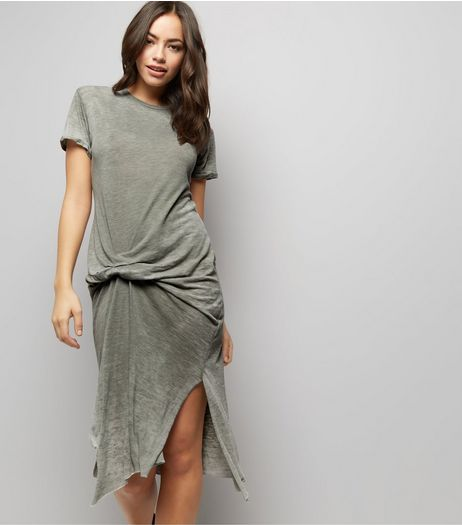 Anita and Green Khaki Knot Front Dress | New Look