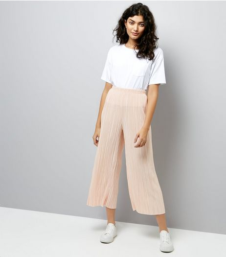 Shell Pink Pleated Culottes | New Look