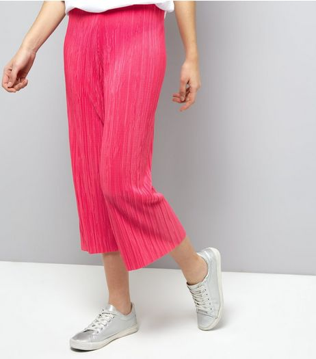 Bright Pink Pleated Culottes  | New Look