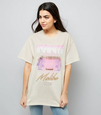 Light Brown Palm Tree Print Ripped Back T-Shirt