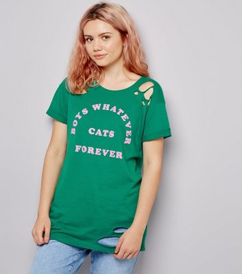 Green Ripped Boys Whatever Cats Forever Slogan T-Shirt