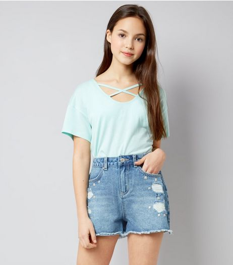 Teens Blue Denim Studded Shorts  | New Look