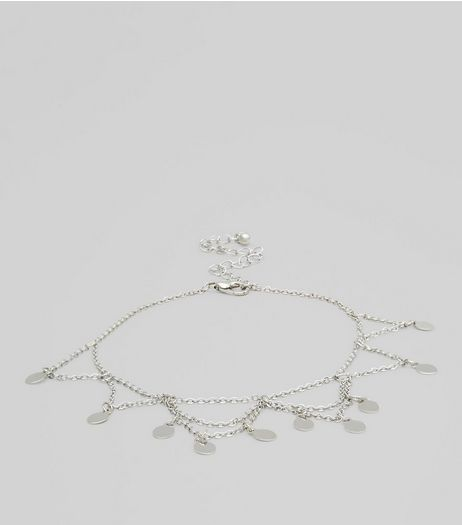 Silver Stone Drop Anklet | New Look