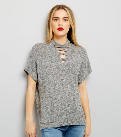 Pale Grey Lattice Front Short Sleeve T-Shirt  | New Look