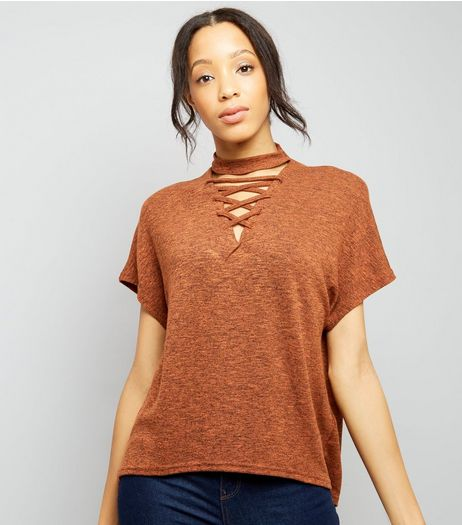Brown Lattice Front Short Sleeve T-Shirt | New Look