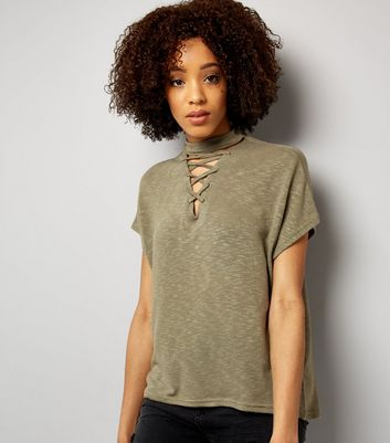 Olive Green Lattice Front Short Sleeve T-Shirt