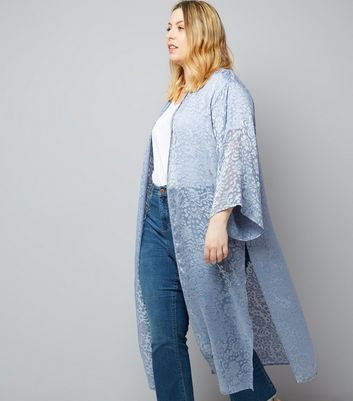 Curves Grey Floral Burnout Maxi Kimono
