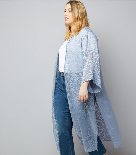 Curves Grey Floral Burnout Maxi Kimono | New Look