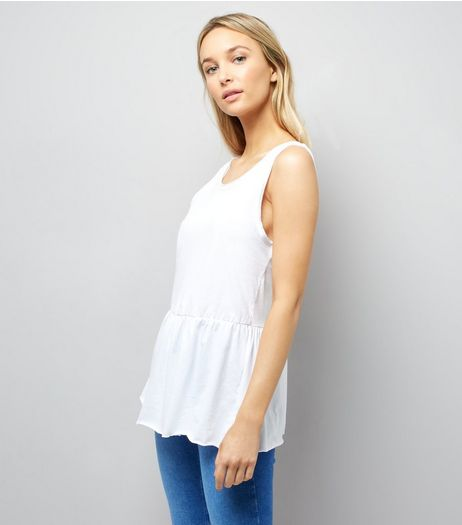 White Peplum Hem Tank Top | New Look