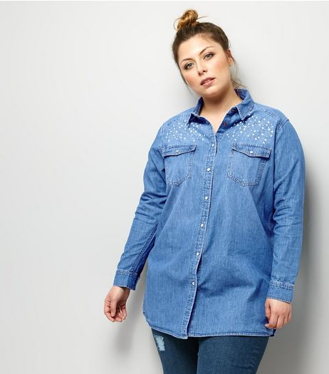 Curves Blue Stud and Pearl Detail Denim Shirt | New Look