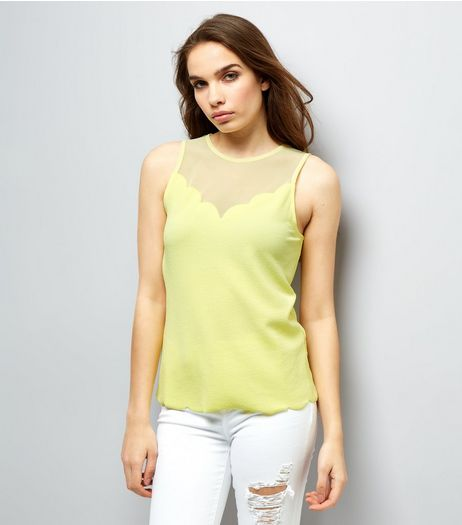 Yellow Mesh Panel Scallop Hem Sleevless Top | New Look