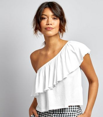 White Frill Trim Off the Shoulder Top