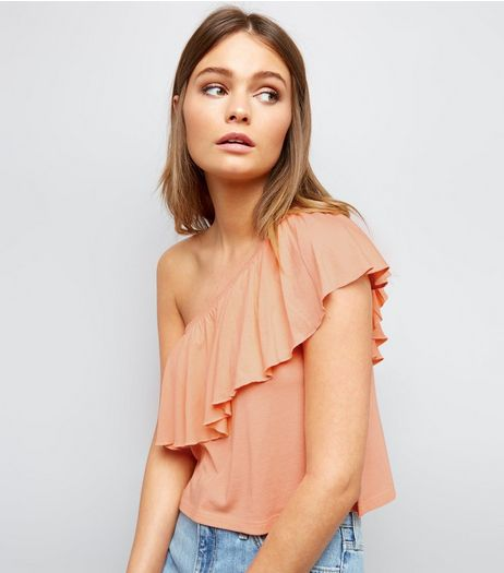 Bright Orange Frill Trim Off the Shoulder Top  | New Look