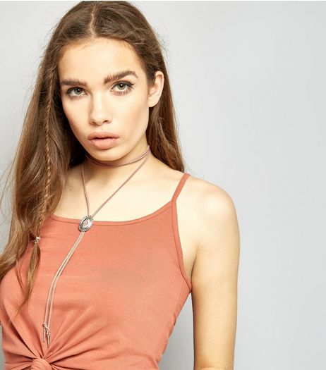 Pink Suedette Bolo Choker | New Look