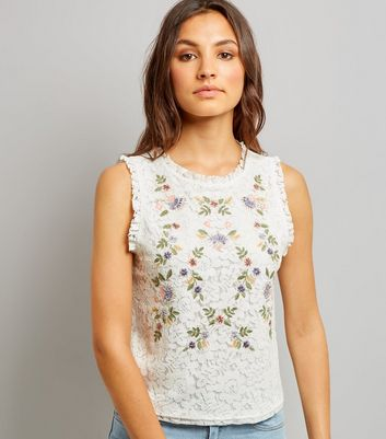 Tall White Floral Embroidered Lace Sleeveless Top