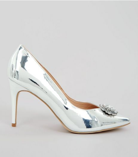 Silver Metallic Crystal Front Heels | New Look