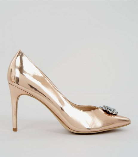 Rose Gold Metallic Crystal Front Heels | New Look