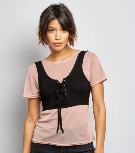 Innocence Shell Pink Mesh 2 in 1 Corset Top  | New Look