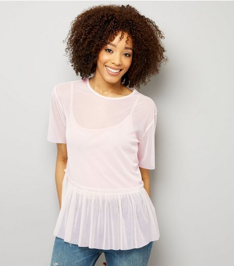 Tall Shell Pink Mesh Peplum Hem Top | New Look