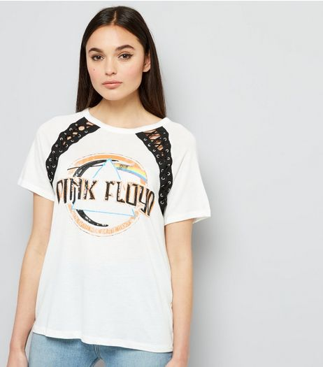 White Pink Floyd Print Lace Panel Top  | New Look