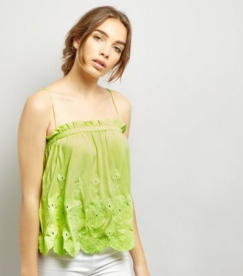 Neon Yellow Embroidered Hem Cami Top