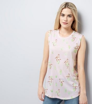 Shell Pink Floral Print Tank Top