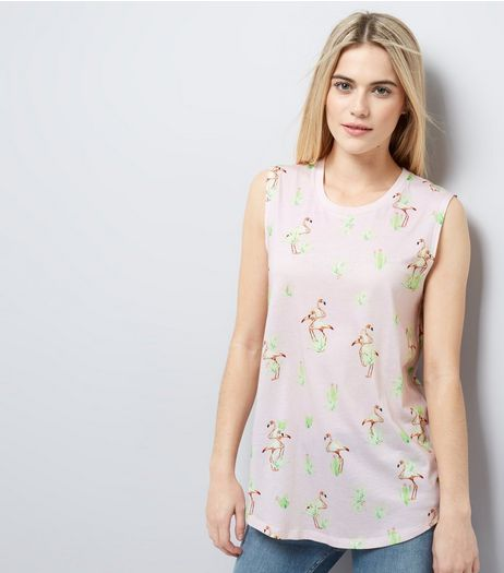 Shell Pink Floral Print Tank Top  | New Look