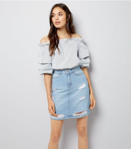 Tall Blue Ripped Denim Mini Skirt  | New Look