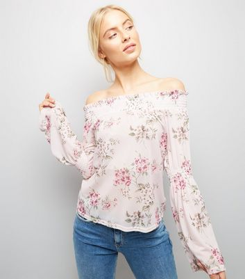 Pink Floral Print Bardot Neck Top