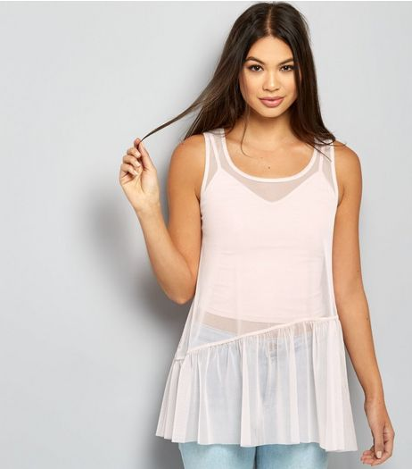 Shell Pink Mesh Asymmetric Hem Sleeveless Top  | New Look