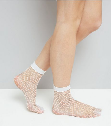 White Oversized Fishnet Socks | New Look
